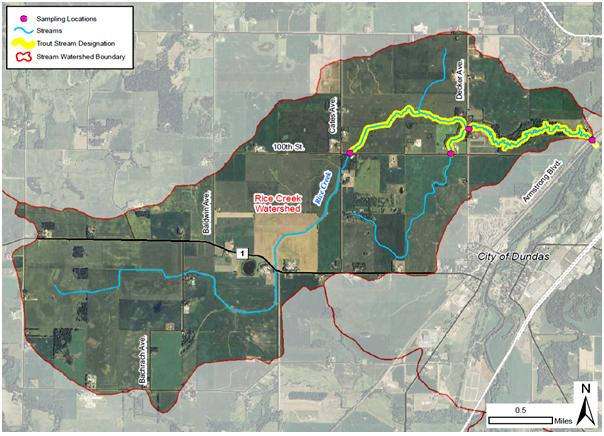 Rice Creek drainage basin, proposed monitoring locations, and designated trout stream.