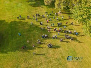 Drone photo of CleanUP volunteers